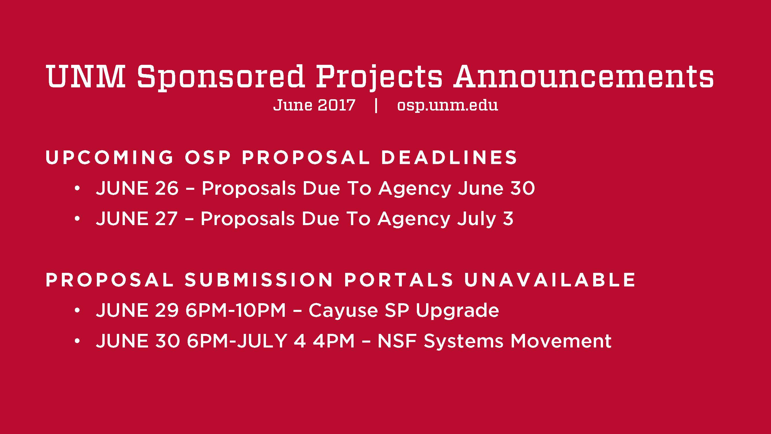 UNM Sponsored Projects Announcment